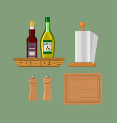 kitchenware isolated on green background vector image