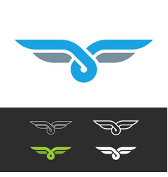 Knot style logo with wings two color ropes vector