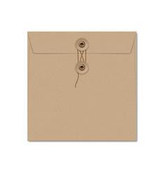 Kraft paper square string tie envelope on white vector