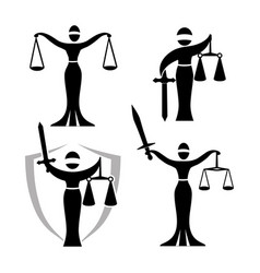 Lady justice black set vector