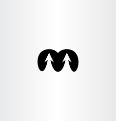Letter m arrows black icon sign vector