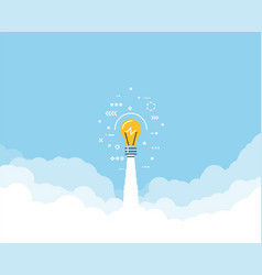 lightbulb flying through clouds vector image