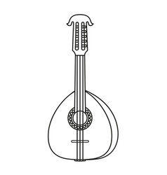 Line art black and white lute vector