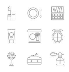 Makeup icons set outline style vector image