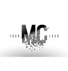Mc m c pixel letter logo with digital shattered vector