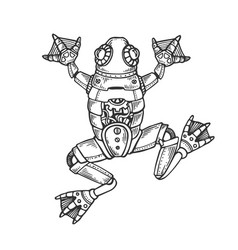 Mechanical frog animal engraving vector