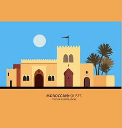 Mediterranean moroccan or arabic style houses set vector