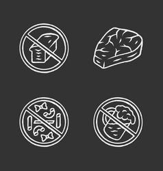 No gluten diet chalk icons set zero carbs vector