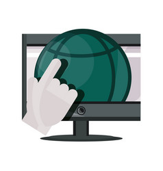 Payments online computer world clicking flat icon vector
