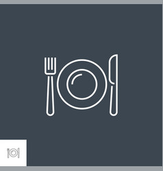 plate fork and knife related line icon vector image
