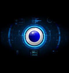 Realistic circle blue button on abstract vector