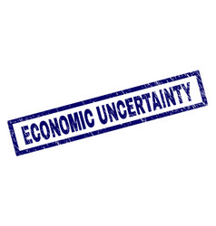 Rectangle scratched economic uncertainty stamp vector