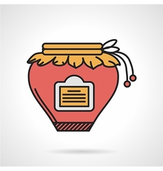 Red jam jar flat icon vector image