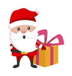 santa claus with a gift box christmas holiday vector image