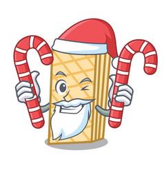 santa with candy waffle mascot cartoon style vector image