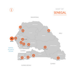 senegal map with administrative divisions vector image