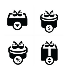 set black gift and bubble talk icons vector image