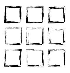 set hand drawn rectangle frame vector image