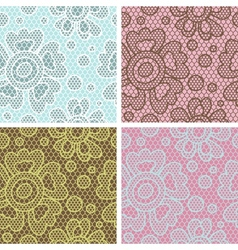 Set lace seamless patterns with abstract flowers vector