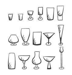 Set of doodle stemware-4 vector