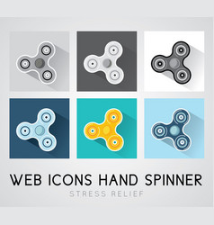 set of flat design icons hand spinner vector image