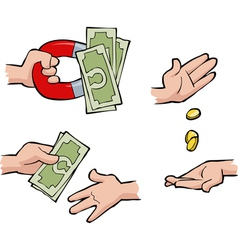 Set of hands with money vector