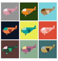 set of icons in flat design for airport light vector image