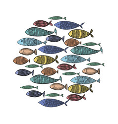 set stylized fish collection cartoon vector image