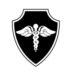 shield insurance with medical symbol isolated icon vector image