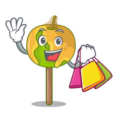shopping candy apple character cartoon vector image