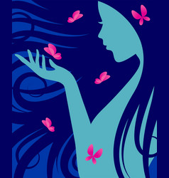 Silhouette a woman with long curly hair vector