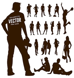 Silhouette Motion people background vector