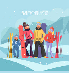 Skier family on vacation vector