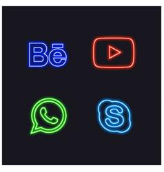Social neon sign buttons vector