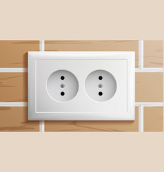 socket double grounded power switch vector image