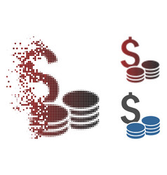 Sparkle pixel halftone dollar cash icon vector