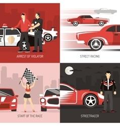 street racing cocept 4 flat icons vector image