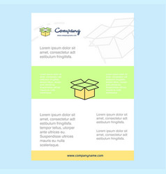 template layout for carton comany profile annual vector image
