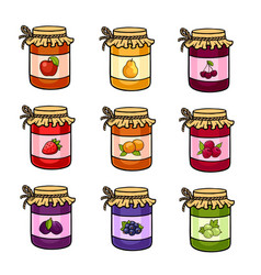 the set of hand-drawn jars with jam vector image