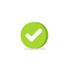 tick icon symbol cartoon green 3d vector image