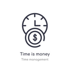 Time is money outline icon isolated line from vector