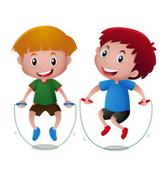 two boys jumping rope together vector image