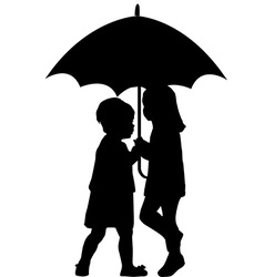 Two little girls under an umbrella vector image