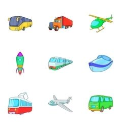 Variety of transport icons set cartoon style vector image