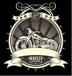 vintage motorcycle hand drawing vector image