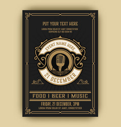 vintage music party with classic elements vector image