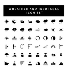 weather and insurance icon set with black color vector image