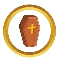 Wood coffin icon vector image