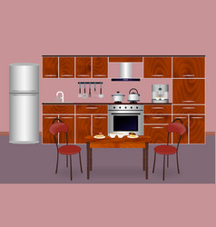 Wooden kitchen interior banner for your web vector