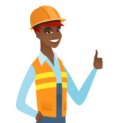 Young african-american builder giving thumb up vector